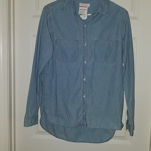 Fresh Produce blue chambray long sleeve shirt XS